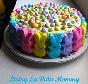 Peep cake. yellow/vanilla cake so you can make colored layers to match the peeps used and top with m&ms