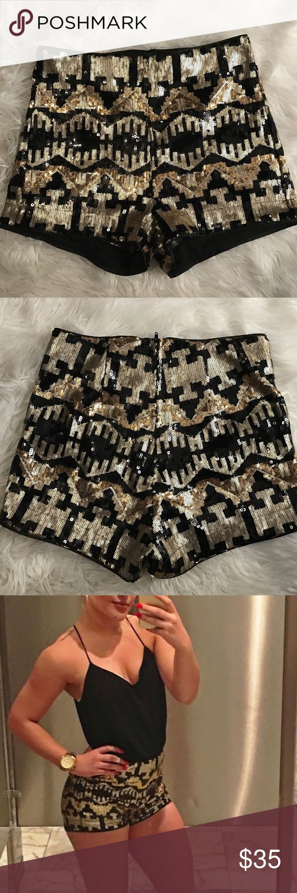 "Gold/Black Sequin shorts H&M ""Divided"" Short sequined mesh shorts with a high waist and concealed zip at the back. Jersey lining. Worn only ONCE, in the photo above! These shorts are gorgeous and they no longer fit. Size 36/6  ❌NO TRADES! 💸 Offers accepted! H&M Shorts"