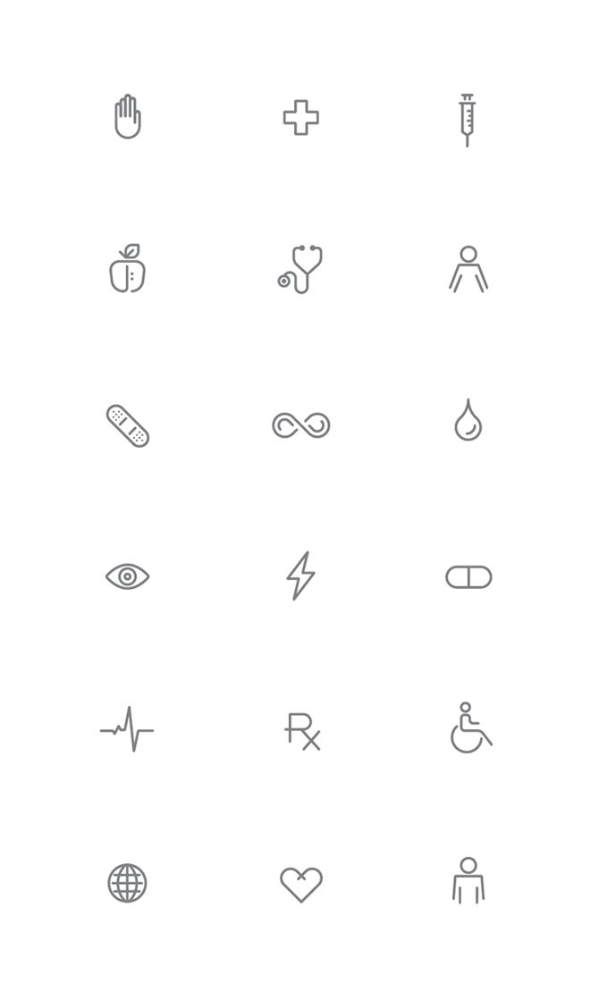 Really simple representations of concepts, clearly displayed and can communicate what they are without language.