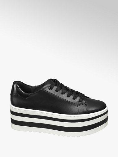 a2eb2d3f125 Bestel deze Graceland dames schoenen bij vanHaren.nl. Zwarte sneaker  plateauzool ✓ Gratis bezorgd