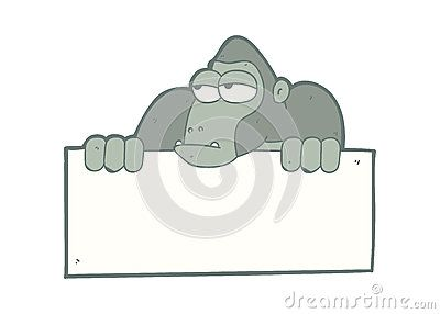 Illustration cartoon primate holding blank board
