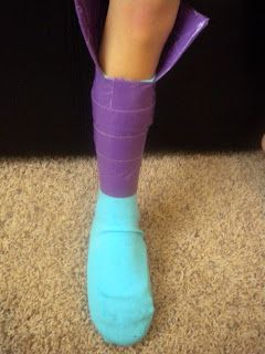 Brown Paper Packages: duct-tape boots (put a sock over a shoe; then wrap w/ colored duct tape)