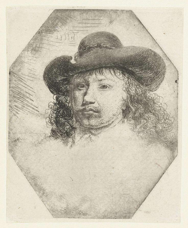anoniem   Jongeman met een hoed met brede rand, attributed to Godfried Schalcken, 1630 - 1700   Hoofd van een jongeman met lang krullend haar en een hoed met een brede rand. Mogelijk een portret van Gerard Dou.