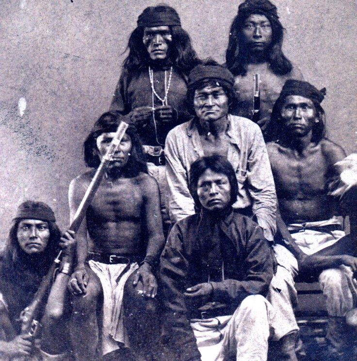 The photo is circa 1880 - 1883. They are White Mountain Apache Scouts. Only 1 person is identified, so far. The first on the left as you look at the photo is Ha-teth-la, a Pinal Apache Chief.   Photo used with permission and courtesy of Gary O'Neill