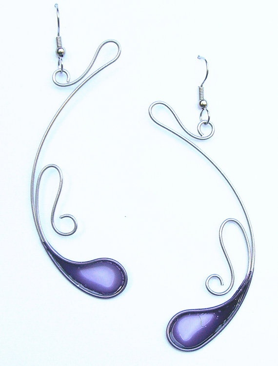 Stainless steel and dyed resin dangle earrings in purple - handmade jewelry. $35.00, via Etsy.