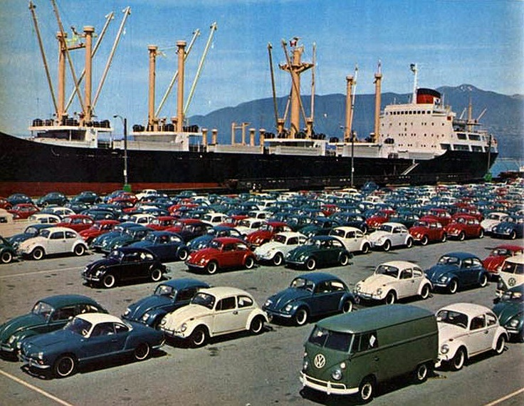 VWs arriving in Vancouver, sometime in the 1960s.