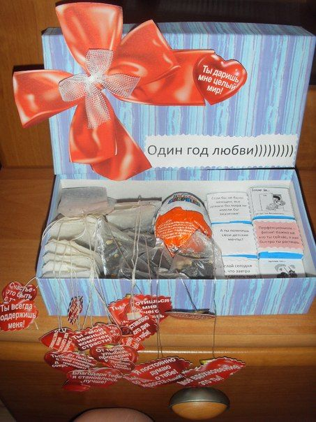 Подарок на годовщину свадьбы. Чай с самодельными этикетками, киндер сюрприз в котором тоже сюрприз и...