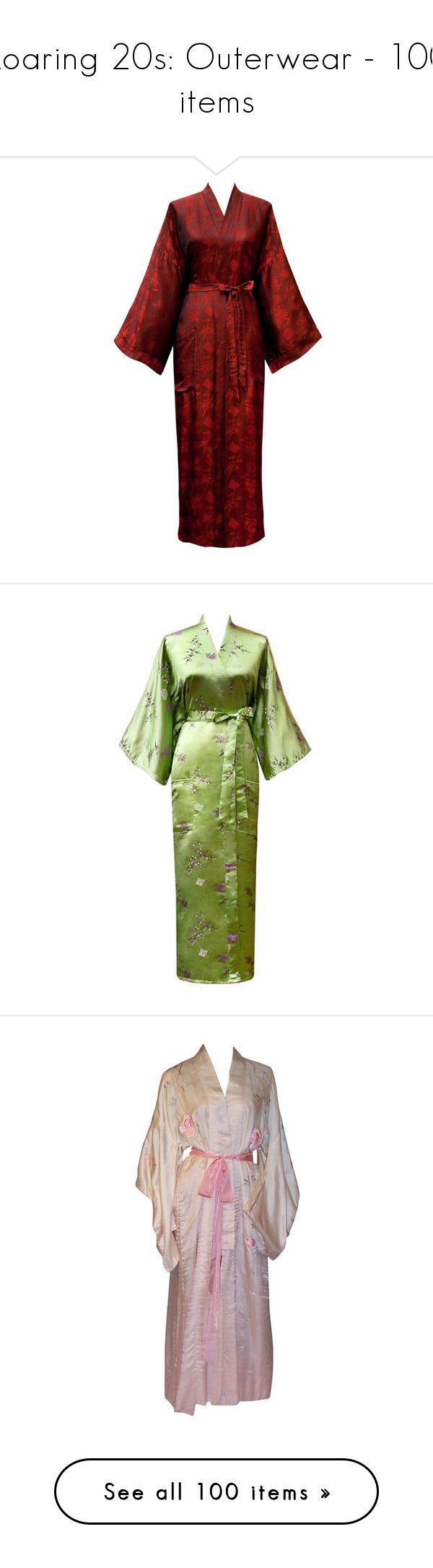 """""""Roaring 20s: Outerwear - 100 items"""" by breadwineroses ❤ liked on Polyvore featuring dresses, kimono, gowns, robe, gown, asian, intimates, robes, lingerie and undergarments"""