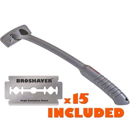 BRO Shaver Back Hair Shaver, Uses Standard Double Edge (DE) Safety Razor Blades, Stainless Steel Bolts, Cheap Refills, Blades cost pennies, 15 razors included, Do-it-yourself, Gray