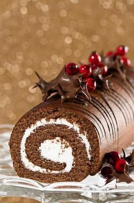 Bouche de Noel - a French tradition. Our as I like to call it , a chocolate log...my dessert when everyone else in my family ate christmas cake or plum pudding