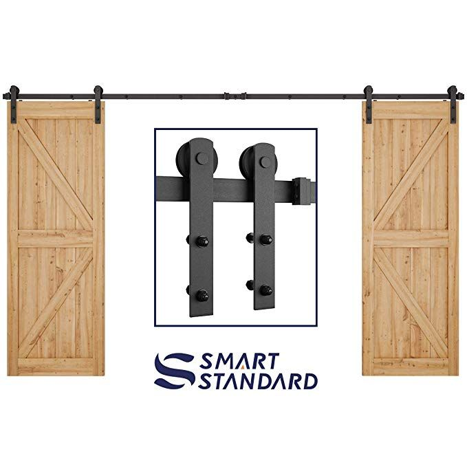 12ft Heavy Duty Double Door Sliding Barn Door Hardware Kit Smoothly And Quietly Simple And E Barn Door Hardware Exterior Barn Door Hardware Sliding Barn Door