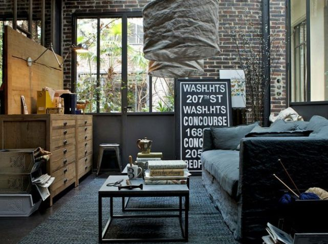 60 best images about d co industrielle industrial decor on pinterest - Deco industrielle salon ...
