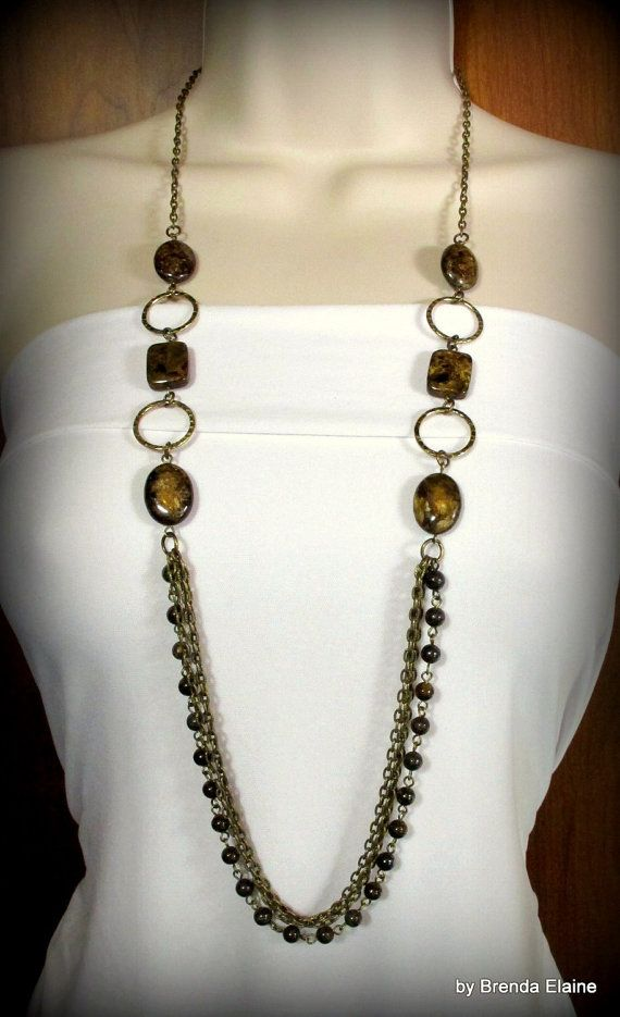 Long Bronzite And Chain Necklace