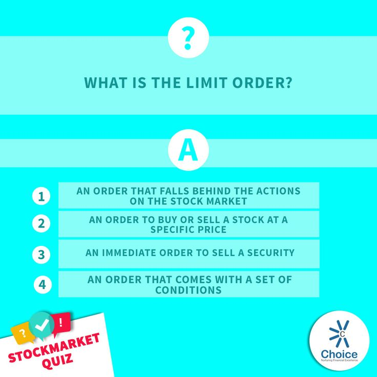 #ChoiceBroking #StockMarketQuiz - What is the limit order?  1) An order that falls behind the actions on the stock marke  2) An order to buy or sell a stock at a specific price  3) An immediate order to sell a security  4) An order that comes with a set of conditions
