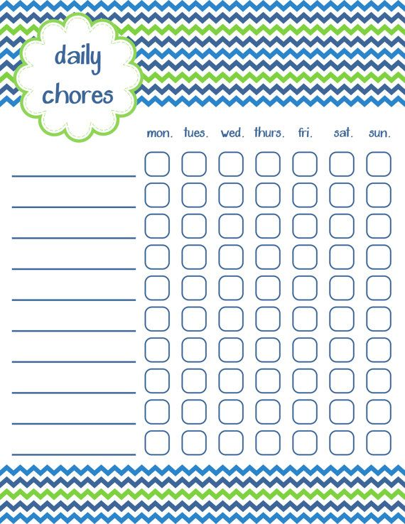 Printable Chore Chart Instant Download Chart And