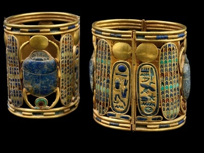 Two bracelets of Psusennes I, gold, lapis lazuli, carnelian, green feldspar; 21st Dynasty, Third Intermediate Period.