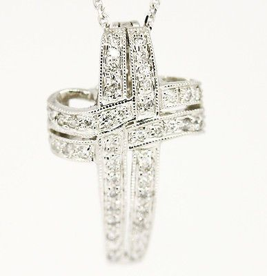 """Chic 14k White Gold SI1,H, 0.50tcw Pave Diamond Infinity Cross Necklace 16"""""""