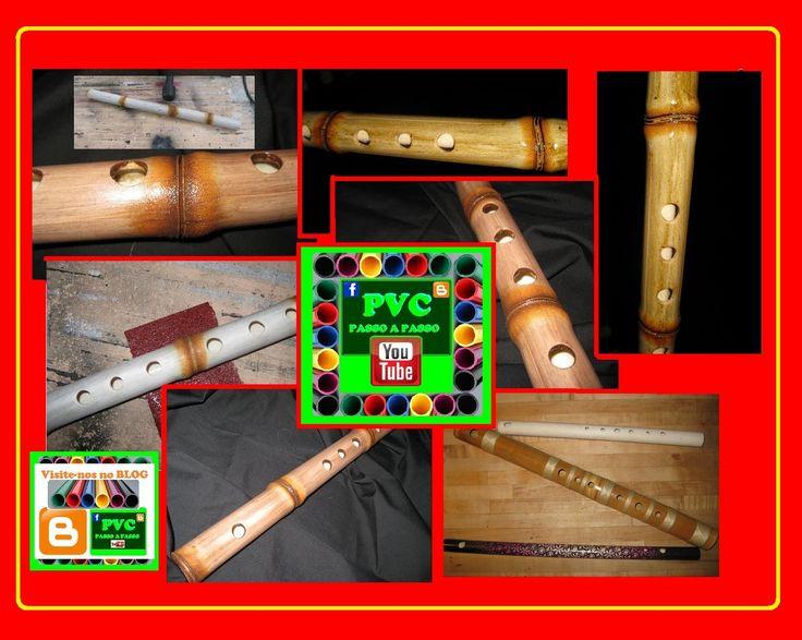 Flauta com tubo PVC com efeito de falso bambu