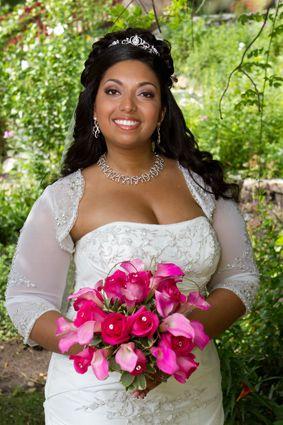 african american bride; black bride; bride of colour; fuchsia flowers