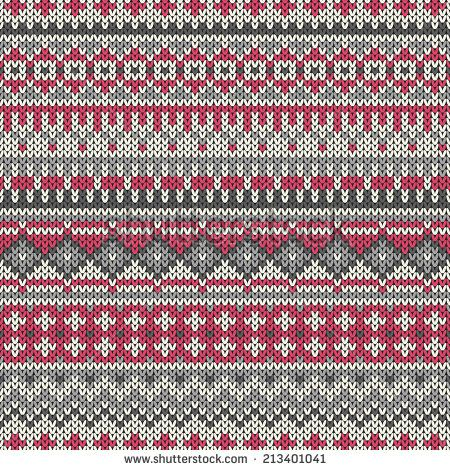 Seamless knitted geometric pattern in traditional Fair Isle style ...
