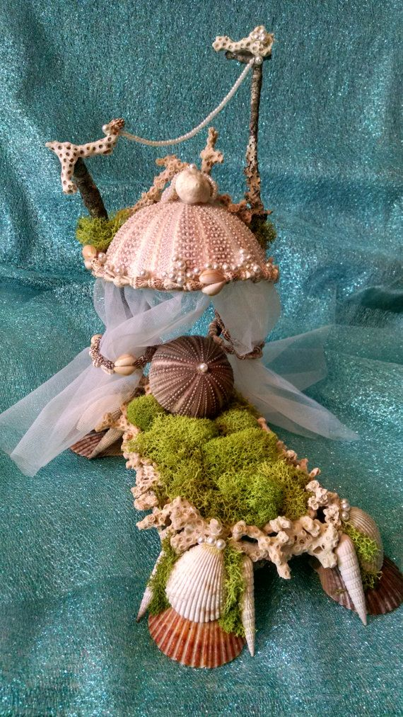 Mermaid or Fairy Queen Shell Bed, Handmade, Miniature Furniture, Fairy Garden, Sea shells, Coral, Natural materials