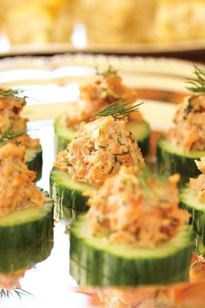 Recipe: My Smoked Salmon Tartare on Cucumber Rounds--delicious, elegant, and easy to eat-essentially, the perfect hors d'oeuvre