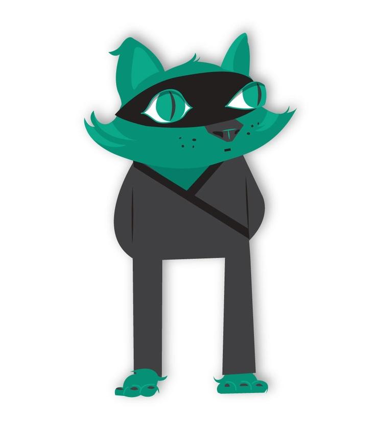 """""""Ninja cat"""" Digital illustration"""