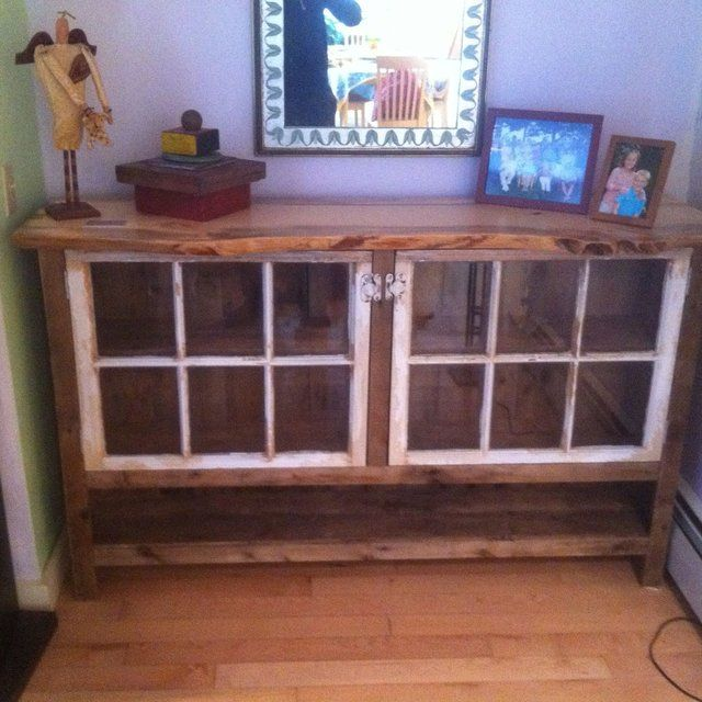 Reclaimed Wood Sideboard With Recycled Windows