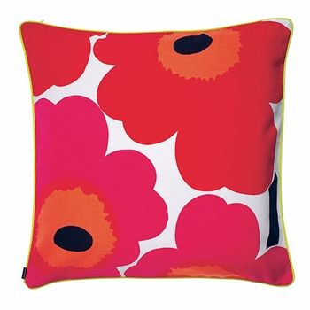 At 2 feet by 2 feet, this pretty pillow is perfect for adding a pop of print, color and comfort to the bed, couch, or even the floor.  Marimekko Unikko Red / Varvunraita Black Oversized Throw Pillow - $95