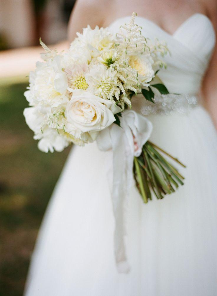 Lush White Rose, Dahlia, Stock Bridal Bouquet
