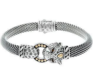 JAI Sterling Silver & 14K Figural Mesh Bracelet