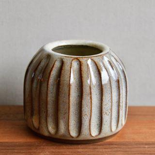 New glaze - carved ceramic bud vase, Huskmilk Pottery