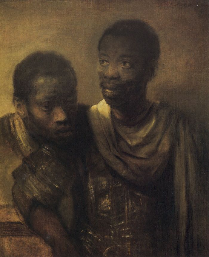 Two Black Men (or Moors),  Netherlands, 1661, Rembrandt van Rijn. Oil on Canvas, 77.8 x 64.5 cm. Muaritshuis, The Hague