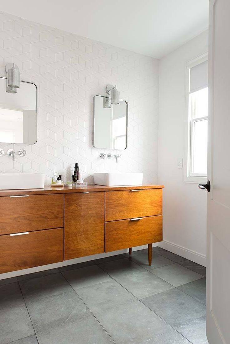 Virtu usa hazel 56 inch single sink bathroom vanity set free - 37 Amazing Mid Century Modern Bathrooms To Soak Your Senses