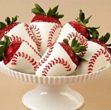 baseball white chocolate covered strawberries =)