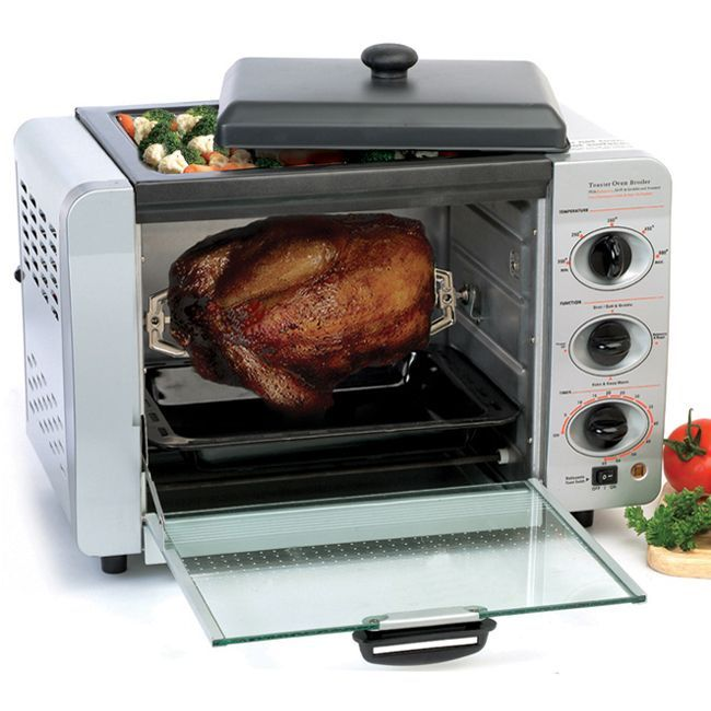 Cook a variety of meals in this small aluminum oven. This 16-liter gadget can grill, toast, bake, and even rotisserie with ease. It uses less electricity than your regular oven and won't heat up your kitchen as much during the warm summer months.