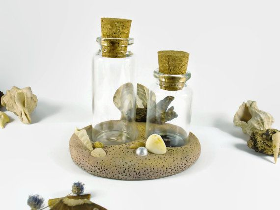 Small Glass Bottles With Corks with Storage Rack - Handmade - 2 Small Glass Containers + Rack Beach Style Decor