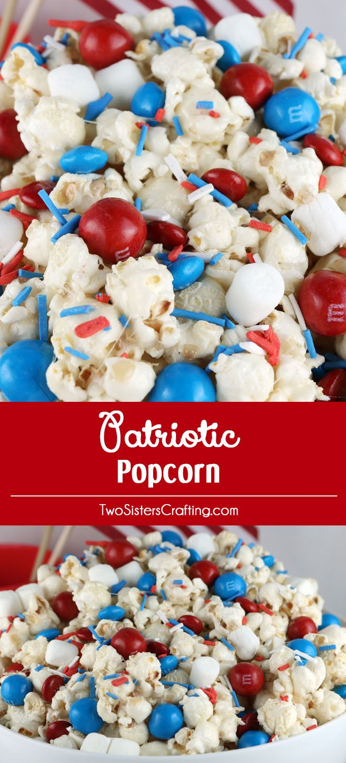 Celebrate with our Patriotic Popcorn - a fun 4th of July Dessert that is both sweet and salty and chock full of Red White and Blue Candy. This yummy Fourth of July treat is super delicious and so easy to make. It would be great at a 4th of July Party, a Memorial Day barbecue or an Olympics viewing party. Pin this yummy 4th of July snack for later and follow us for more great 4th of July Food Ideas.