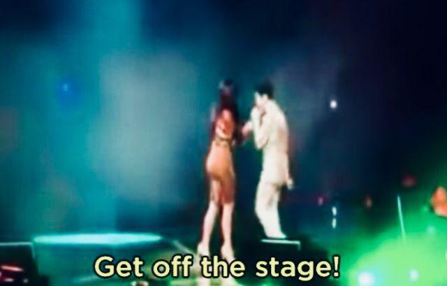 Prince epically kicking Kim Kardashian off the stage!