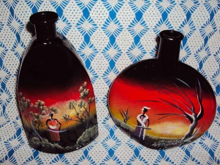 Oggetti di vetro decorati - Bottiglie dipinte a mano