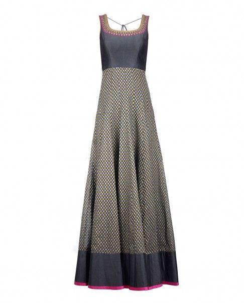 Slate Gray Anarkali Suit with Sequins - Sawan Gandhi - Designers