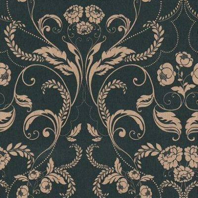 Twiggy Edwardian (104502) - Twiggy Wallpapers - Twiggy's classical design of a beautiful Edwardian floral-damask in metallic gold on a striking black background with a subtle vertical grain-effect. Vintage style! Additional colourways also available. Please request sample for true colour match.