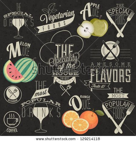 Retro vintage style restaurant menu designs. Set of Calligraphic titles and symbols for restaurant design. Hand lettering restaurant menu design. Orange, melon and apple illustrations. Vector - stock vector