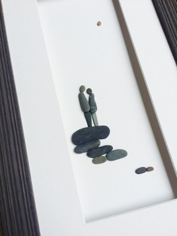 8 by 15 romantic couple pebble art by Sharon nowlan by PebbleArt