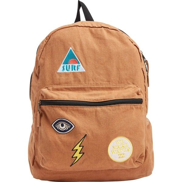 Billabong Women's Rollin Waves Backpack (64 CAD) ❤ liked on Polyvore featuring bags, backpacks, accessories, brown sugar, rucksack bag, utility bag, billabong bag, retro backpack and utility backpack