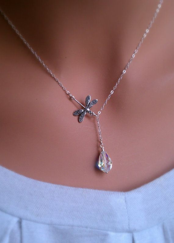 Dragonfly in the rain sterling silver lariat necklace with Swarovski Crystal