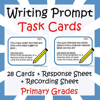 FREE - 28 task cards with fun writing prompts for primary grades (1-5), a task card recording sheet and a task card response sheet.