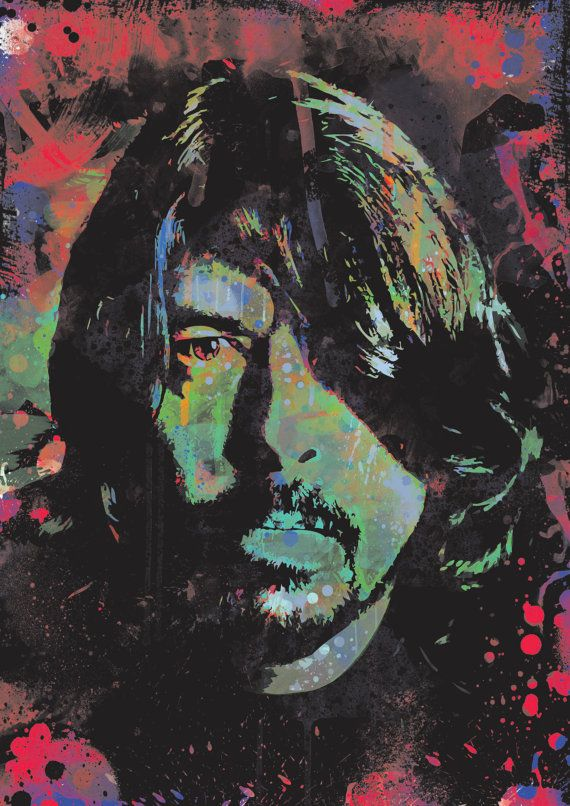 Dave Grohl Foo Fighters spray paint street art by ExtremepandaDesign