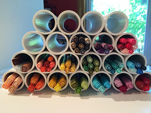 DIY Craft Room Ideas and Craft Room Organization Projects -  PVC Pipe Marker Storage  - Cool Ideas for Do It Yourself Craft Storage - fabric, paper, pens, creative tools, crafts supplies and sewing notions |   http://diyjoy.com/craft-room-organization