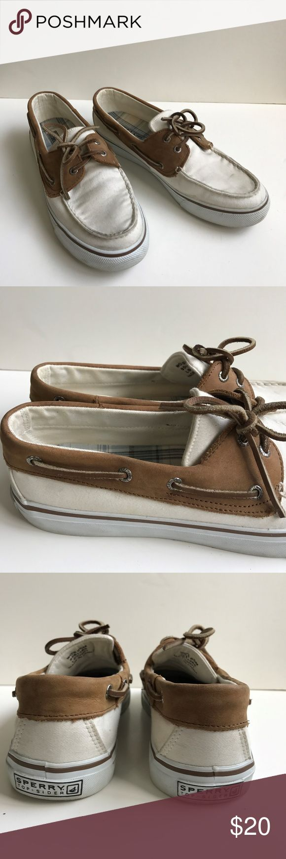 Sperry top sider white boat shoes loafers lace up good condition how it is a bit dusty.  please see pictures. Sperry Shoes Boat Shoes